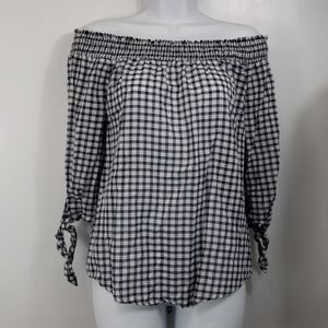 Staccato blue white gingham off the shoulder sz M